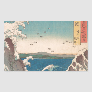 Naruto Whirlpool Japanese  Hiroshige art Rectangular Sticker