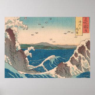 Naruto Whirlpool Waves Hiroshige Poster