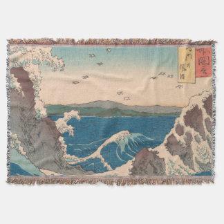 Naruto Whirlpool Waves Hiroshige Throw Blanket