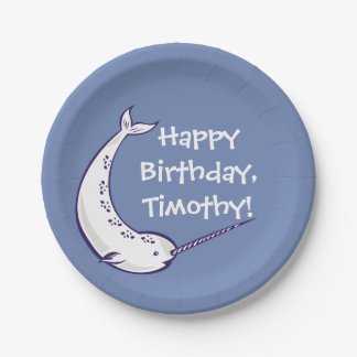 Narwhal Custom Birthday Party Paper Plates 7 Inch Paper Plate