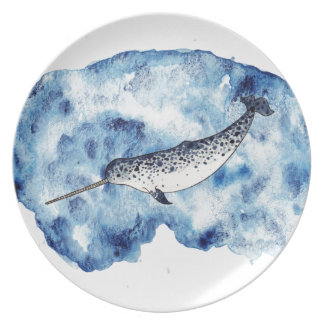 Narwhal in  a splash of watercolour party plates