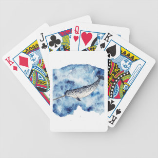 Narwhal in  a splash of watercolour poker deck
