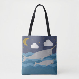 Narwhal Night Swim Tote Bag