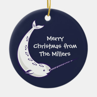 Narwhal Personalized Photo Christmas Ornament