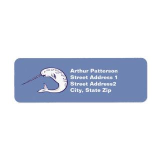 Narwhal Return Address Label Denim Blue