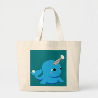 Narwhal snowball fight! large tote bag