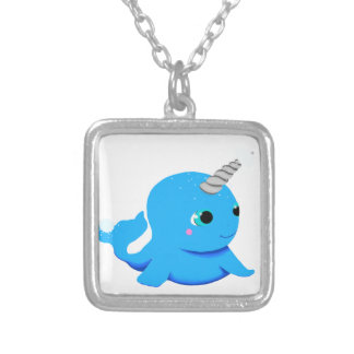 Narwhal snowball fight! silver plated necklace