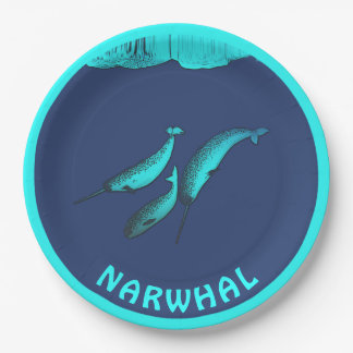 Narwhal Under The Ice Paper Plate