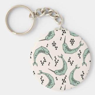Narwhal - Whale Champagne Blue / Andrea Lauren Basic Round Button Key Ring