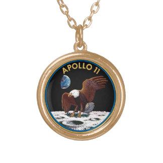NASA Apollo 11 Moon Landing Lunar Patch Insignia Gold Plated Necklace
