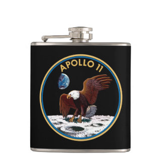 NASA Apollo 11 Moon Landing Lunar Patch Insignia Hip Flask