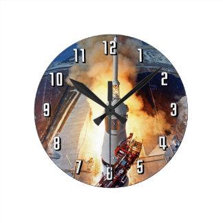 NASA Apollo 11 Moon Landing Rocket Launch Round Clock