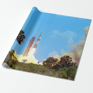 NASA Apollo 16 Saturn V Rocket Launch Wrapping Paper