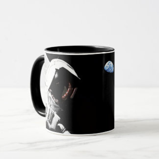 NASA Apollo 17 Astronaut Flag Earth Moon Photo Mug