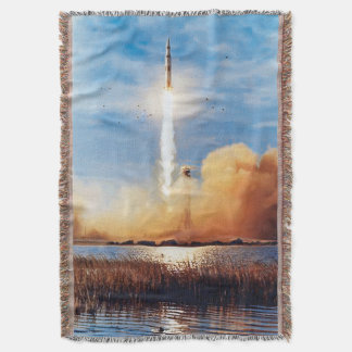 NASA Apollo 8 Rocket Launch Kennedy Space Center Throw Blanket