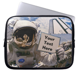 NASA Astronaut Holding Sign - Add Custom Text Laptop Sleeve