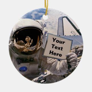 NASA Astronaut Holding Sign - Add Custom Text Round Ceramic Decoration