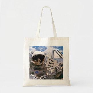 NASA Astronaut Holding Sign - Add Custom Text Tote Bag
