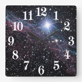 NASA ESA Veil nebula Square Wall Clock