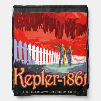 NASA Future Travel Sci Fi Poster - Kepler 186f Drawstring Bag