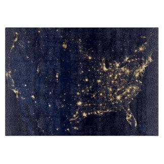 Nasa Lights from Space USA Cutting Board