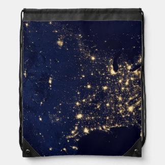 Nasa Lights from Space USA Drawstring Bag