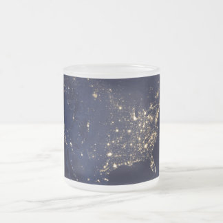 Nasa Lights from Space USA Frosted Glass Coffee Mug