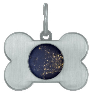 Nasa Lights from Space USA Pet Name Tag