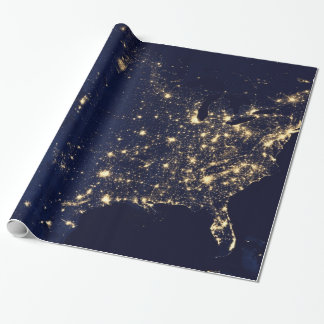 Nasa Lights from Space USA Wrapping Paper