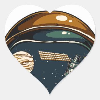 nasa satellite and the moon heart sticker