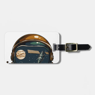 nasa satellite and the moon luggage tag