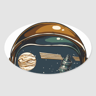 nasa satellite and the moon oval sticker