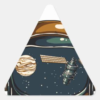 nasa satellite and the moon triangle sticker