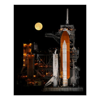 NASA Space Shuttle Launch At Night Poster