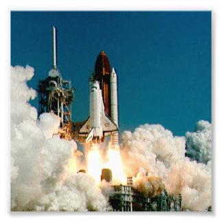 NASA Space Shuttle launch, Rocket Fire Photo Print