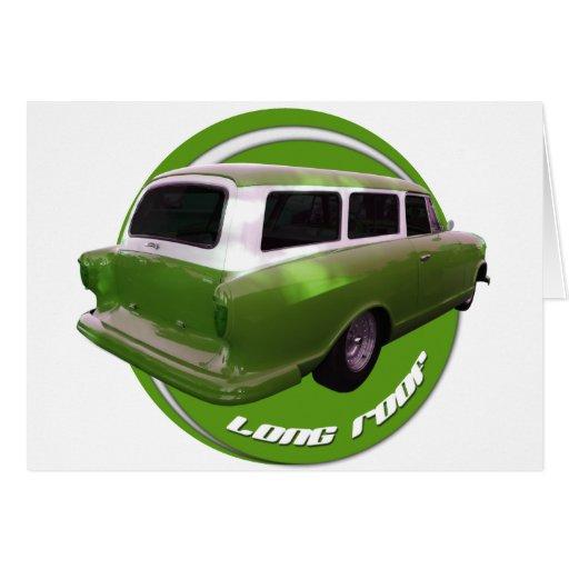 nash long roof green station wagon greeting card