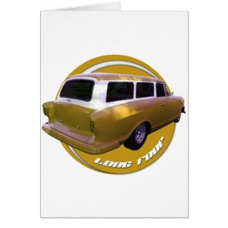 nash long roof station wagon golden yellow greeting card