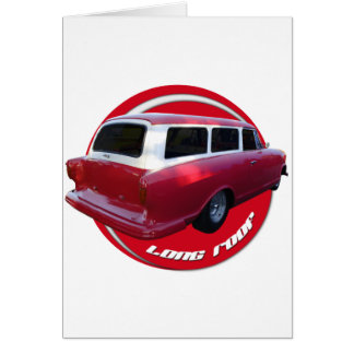 nash long roof station wagon  red greeting card