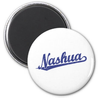 Nashua script logo in blue distressed magnet
