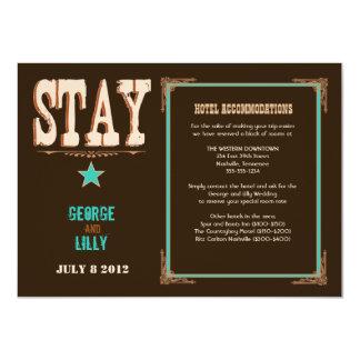 Nashville Accommodation Card:  Turquoise 11 Cm X 16 Cm Invitation Card