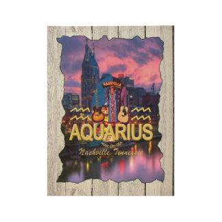 Nashville Aquarius Zodiac Wood Poster -MC
