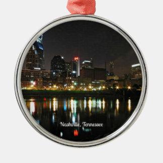 Nashville at Night Metal Ornament