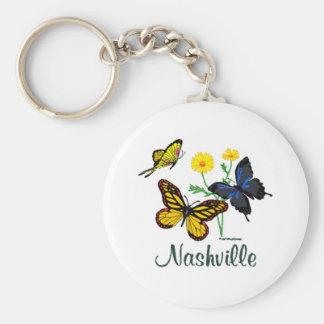 Nashville Butterflies Basic Round Button Key Ring