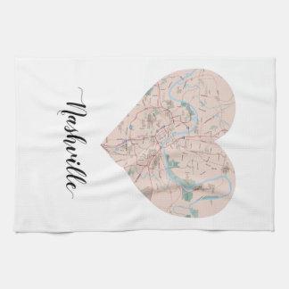 Nashville Heart Map Tea Towel