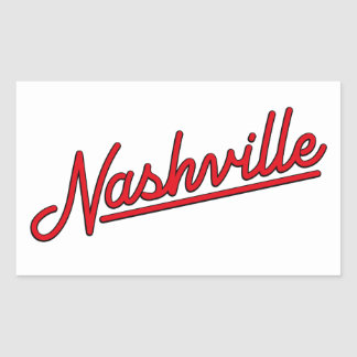 Nashville in Red Rectangular Sticker