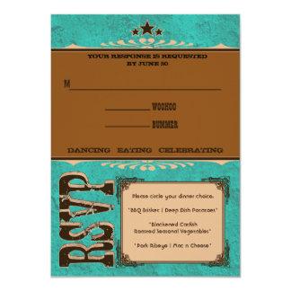 Nashville Response Card:  Turquoise 11 Cm X 16 Cm Invitation Card