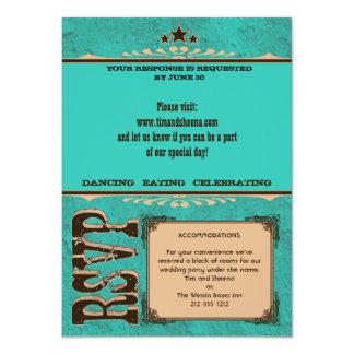 Nashville Response Card:  Turquoise _NOLINES 11 Cm X 16 Cm Invitation Card