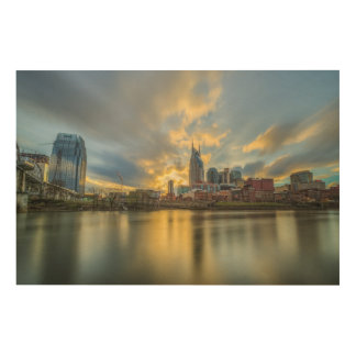 Nashville Riverfront Wood Print