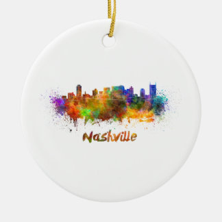Nashville skyline in watercolor ceramic ornament