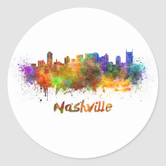 Nashville skyline in watercolor classic round sticker